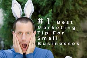 Man with bunny ears is shocked to find out the #1 Best Marketing Tip For Promoting Your Small Business in Less Than 10 Minutes