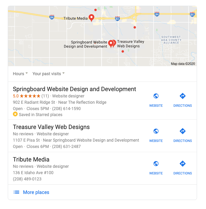 Google 3 Pack Listing with Springboard Website Designs listed on the top of the page showing a best marketing tip for promoting your small business