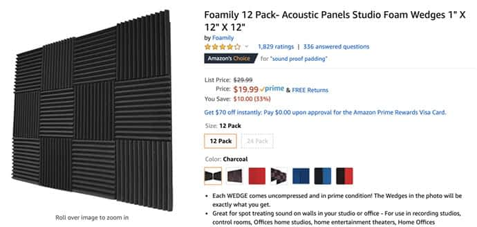 Sound absorbing foam for sale on Amazon to help with echo featured in Zoom meeting tips