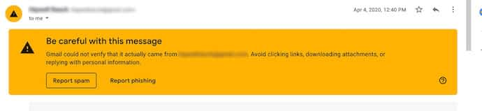 Yellow Gmail Be Careful With This Message warning from Woocommerce automatically generated order emails