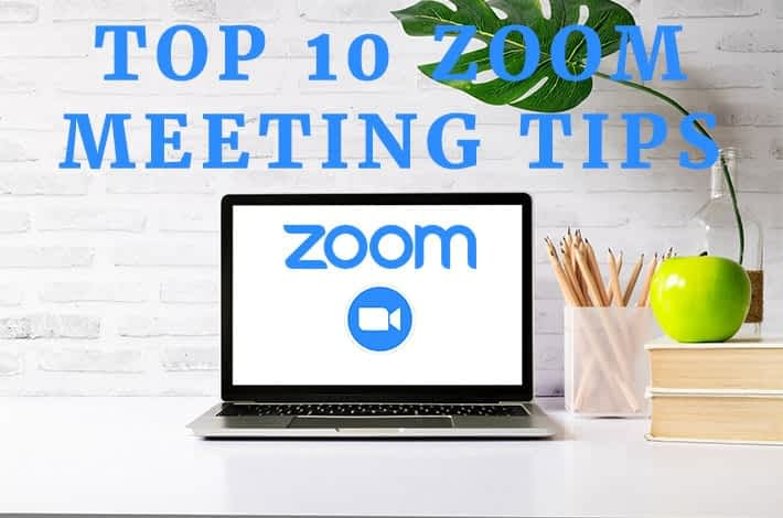 Computer with Top 10 Zoom Meeting Tips written on it and showing the Zoom Online Business Meeting Logo