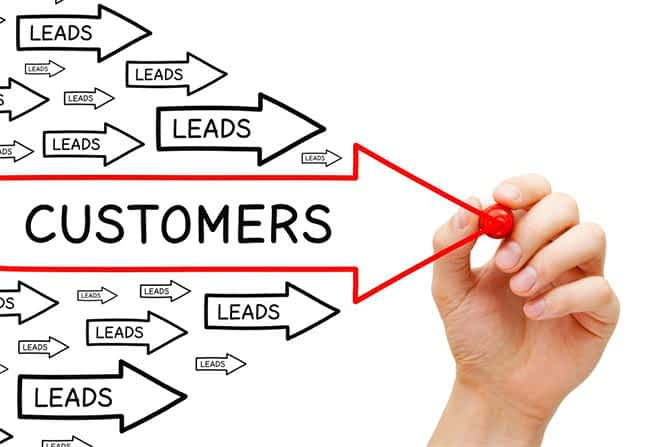 Arrows showing customers and Leads indicating design tips to improve your websites conversion rates