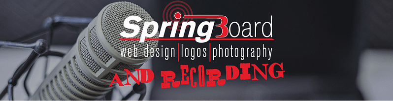 Microphone setup with Springboard Website Design logo featuring Recording services