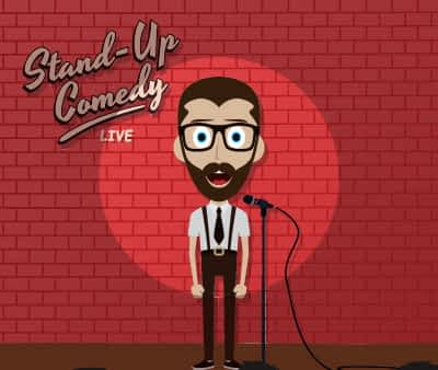 Cartoon drawing of a man performing stand up comedy