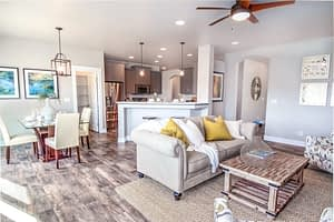 Photography sample real estate picture of a living room and kitchen