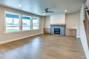Real estate photography of a living room with hard wood floors