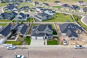 Aerial drone shot of a house
