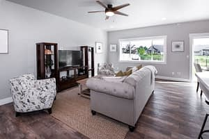 Real estate photography of a living room with couch
