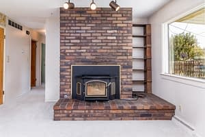 Real estate photography sample of interior fireplace