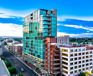 Real estate photography picture of a high rise apartment building in downtown Boise Idaho